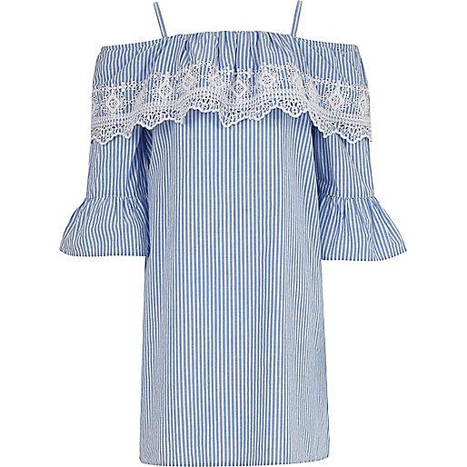 Girls blue stripe broderie bardot dress
