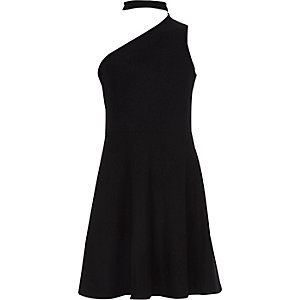 Girls black one shoulder choker dress