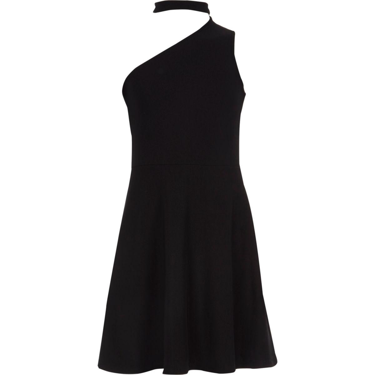 Girls black one shoulder choker dress