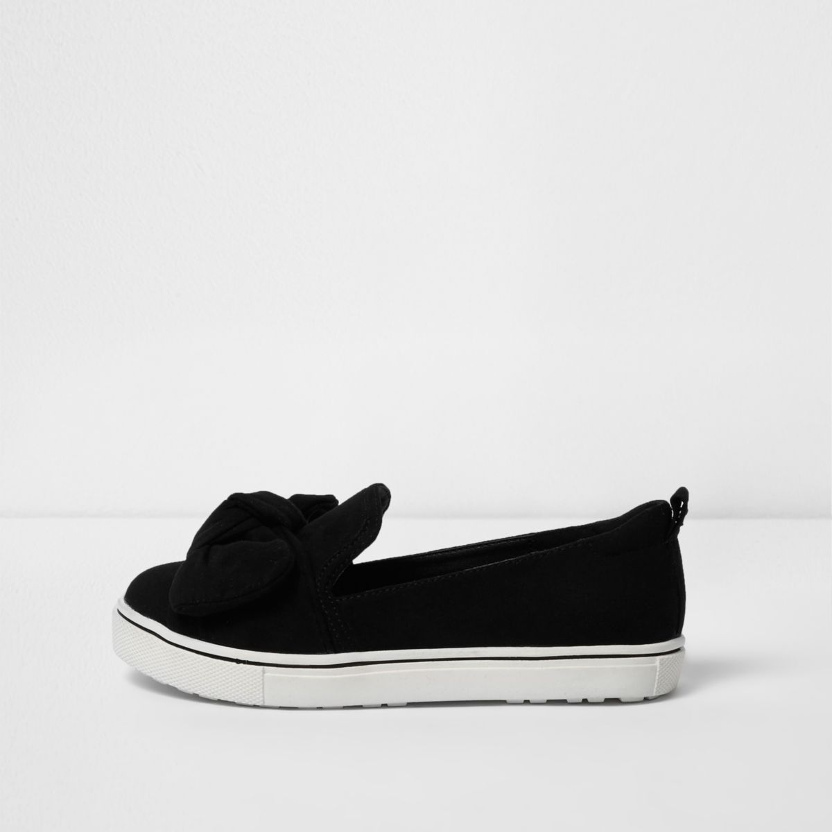 Girls black bow espadrille plimsolls