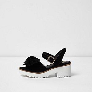 Zwarte sandalen met strik en profielzool voor meisjes