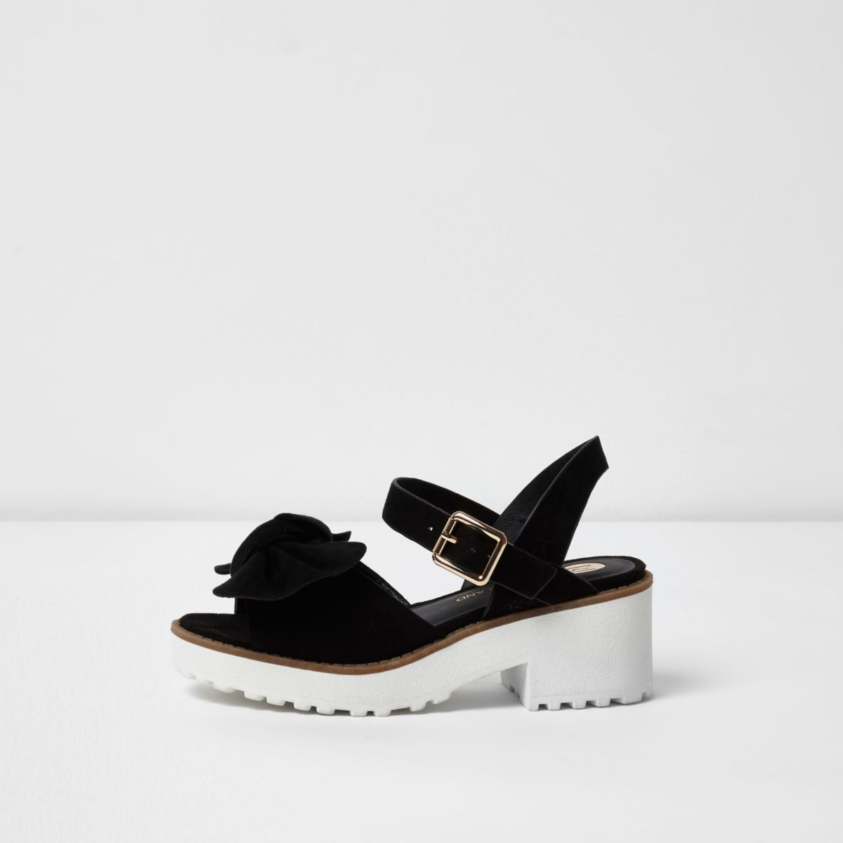 Girls black bow chunky sandals