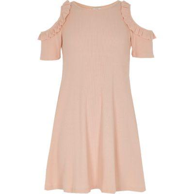 Roze geribbelde schouderloze jurk voor meisjes
