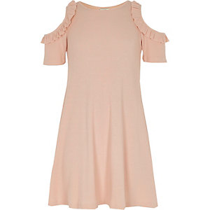 Girls pink rib cold shoulder dress