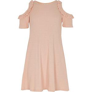 Robe rose côtelée à épaules dénudées pour fille