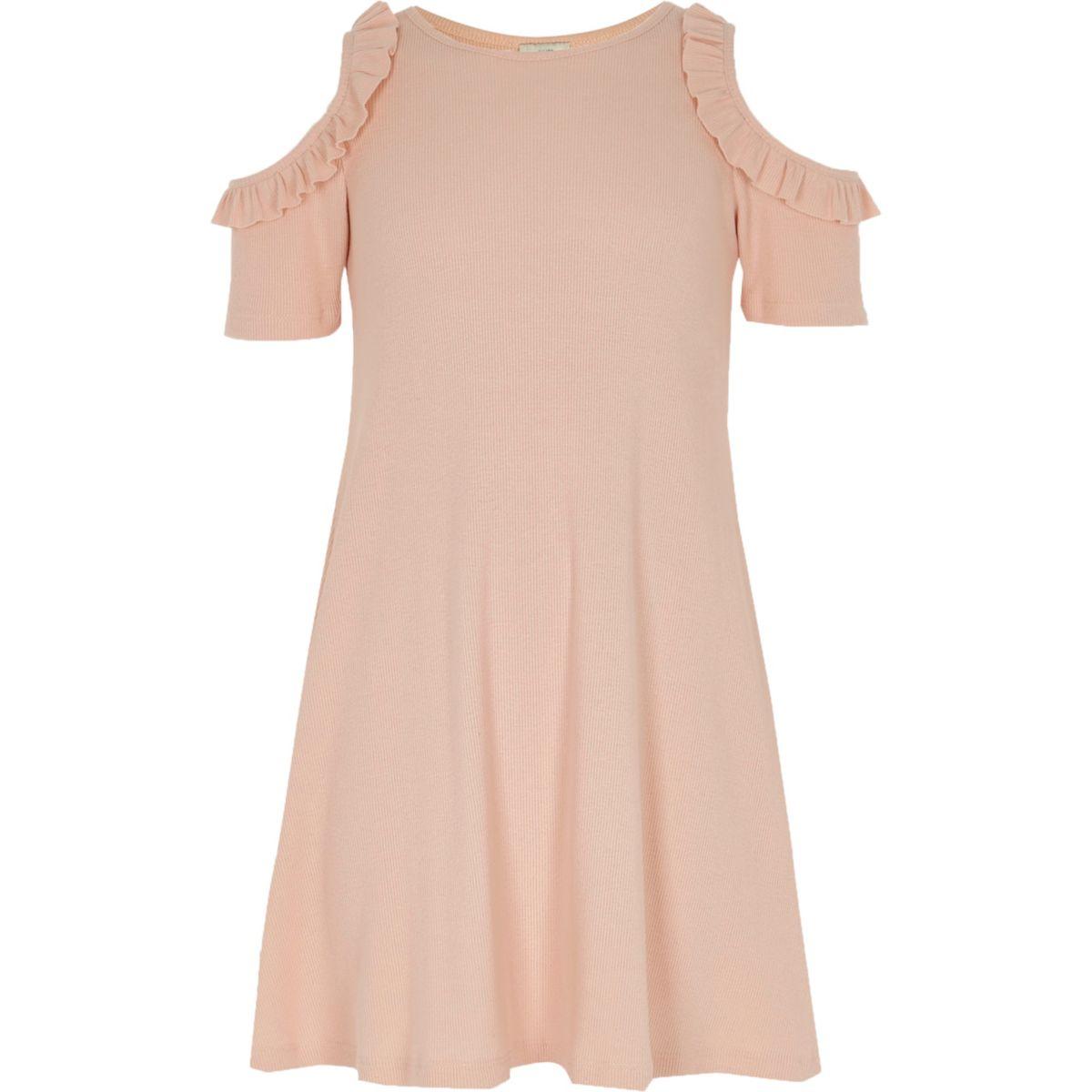 Girls pink rib cold shoulder dress