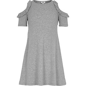 Girls grey ribbed frill cold shoulder dress