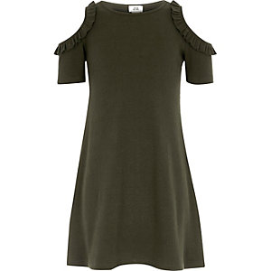 Girls khaki green ribbed cold shoulder dress