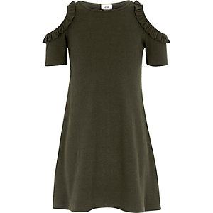 Girls khaki green ribbed cold shoulder dress