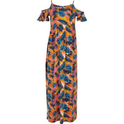 Oranje schouderloze maxi-jurk met print voor meisjes