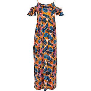 Girls orange print cold shoulder maxi dress