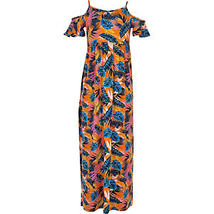 Girls orange print cold shoulder maxi dress