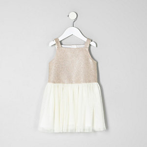 Mini girls gold prom dress