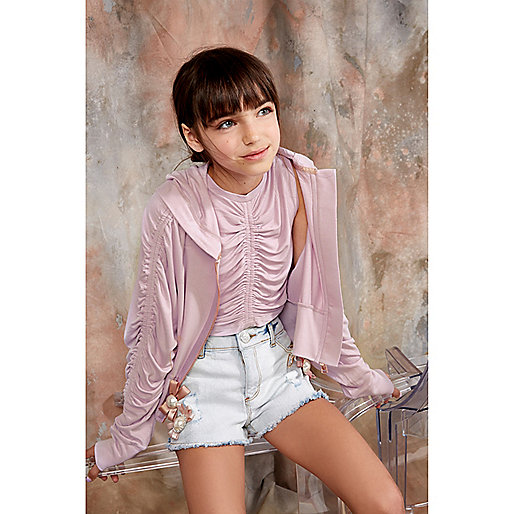 Girls RI Studio light purple ruched crop top