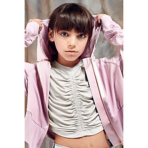 Girls RI Studio white ruched front crop top