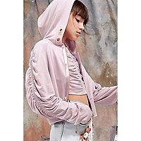 Girls purple RI Studio zip front hoodie