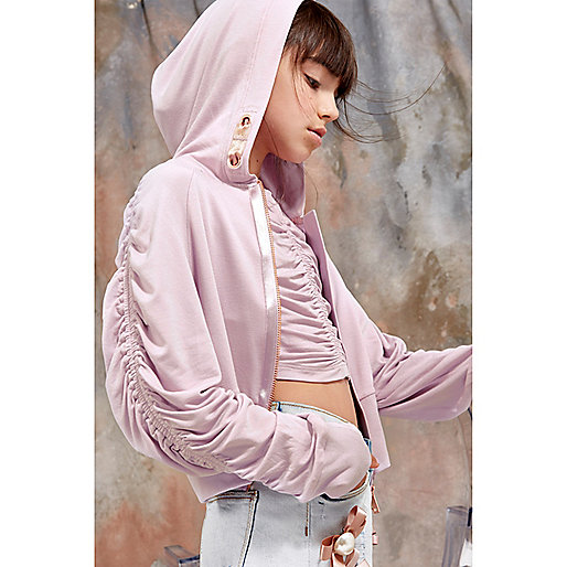 Girls purple RI Studio zip front hoodie