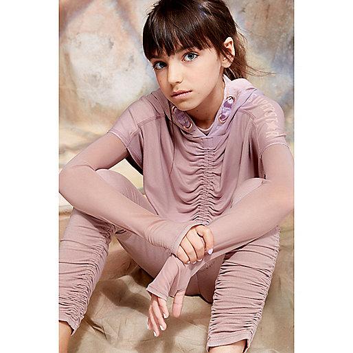 Girls pink RI Studio mesh sleeve crop top