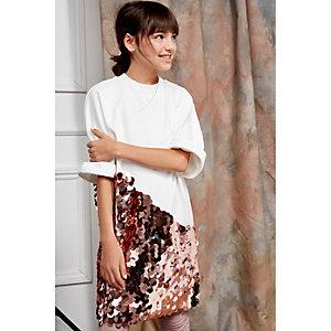 Girls cream RI Studio sequin T-shirt dress
