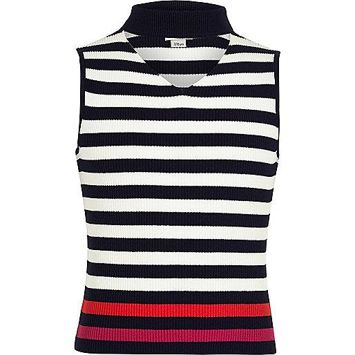 Girls navy stripe sleeveless choker jumper