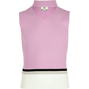 Girls light purple colour block choker top