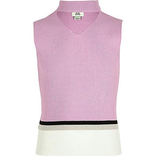 Girls light purple color block choker top