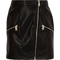 Girls black faux leather biker mini skirt
