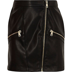 Girls black faux leather biker mini skirt
