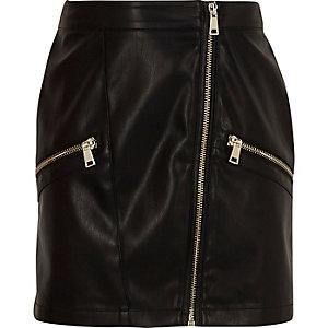 Mini-jupe en cuir synthétique noire style motard pour fille