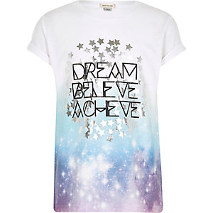 Girls white 'Dream' fade print T-shirt