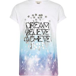 "Weißes T-Shirt mit verblasstem ""Dream""-Print"