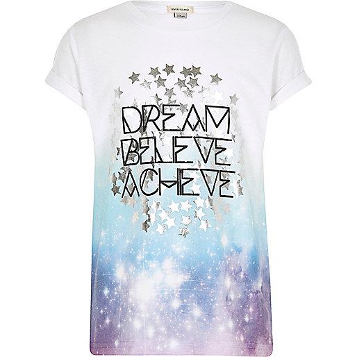 Girls white 'Dream' fade print T-shirt