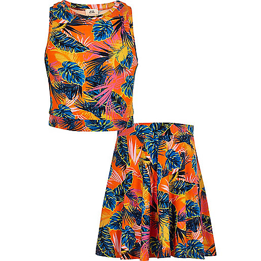 Girls orange tropical crop top outfit
