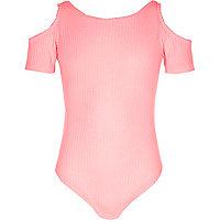 Girls pink ribbed cold shoulder bodysuit