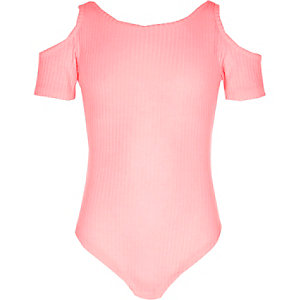 Body rose côtelé à épaules dénudées pour fille