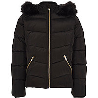 Girls black faux fur hood puffer jacket