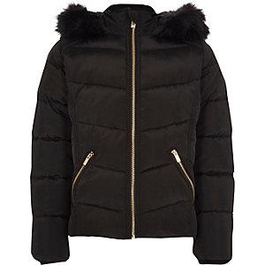 Doudoune noire à capuche avec bordure en fausse fourrure pour fille