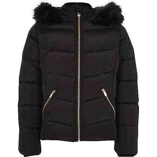 Girls black faux fur hood puffer jacket
