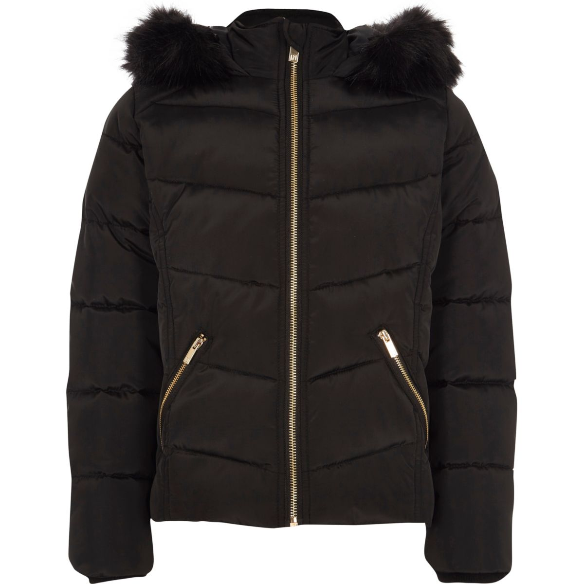 Girls black faux fur hood puffer jacket - Jackets - Coats ...