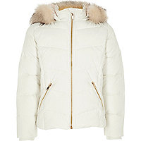 Girls white faux fur hooded puffer jacket
