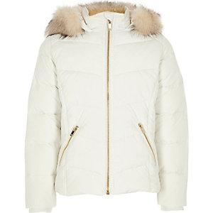 Girls white faux fur hooded puffer jacket