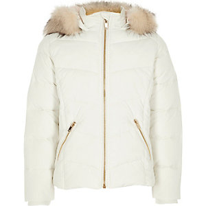 Girls white fur trim hooded puffer jacket