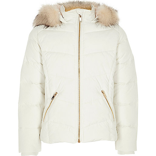 Girls white fur trim hooded puffer jacket