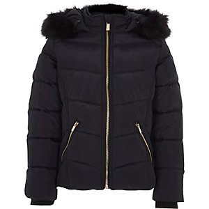 Girls navy padded fur trim hood puffer jacket