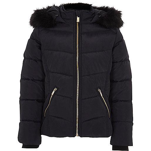 Girls navy padded fur trim hood puffer jacket