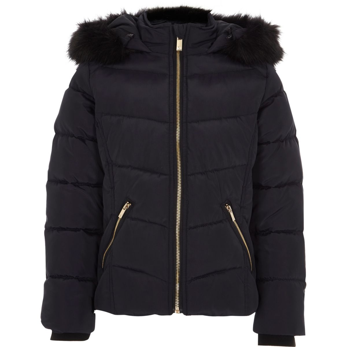 Girls navy padded faux fur hood puffer jacket - Jackets - Coats ...