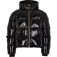 Girls black high shine puffer jacket