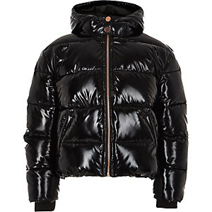 Girls black high shine puffer jacket