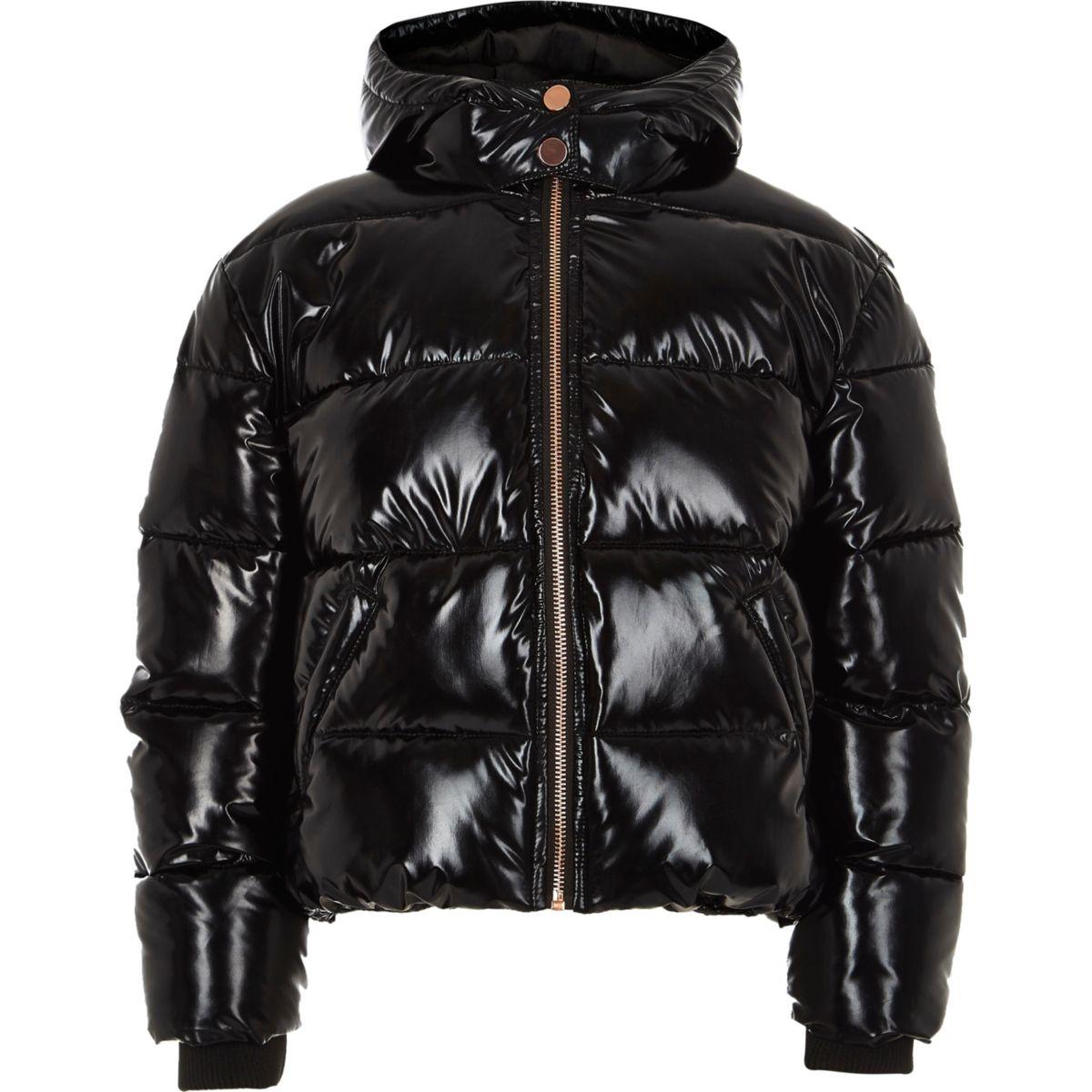 Girls black high shine puffer jacket - Jackets - Coats & Jackets ...