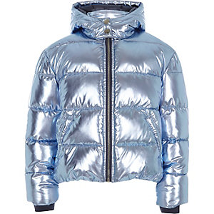 Girls blue foil hooded puffer jacket
